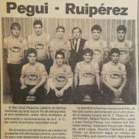 Presentación del equipo junvenil Pegui – Ruipérez  del B.C. Paiporta – 1987