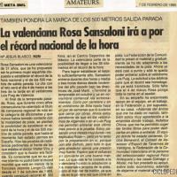 Imagen de Récord de la hora nacional femenino de Rosa Sansaloni – Valencia 1995