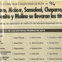 Resultados Campeonatos de la Comunidad Valenciana – 1994