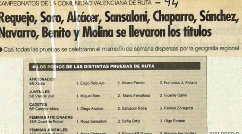 Imagen de Resultados Campeonatos de la Comunidad Valenciana – 1994